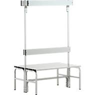 Garderobebanksysteem, type C, 1015 mm lang, rvs/alu