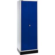 Garderobekast, 1800 x 630 x 500 mm, lichtgrijs/gent.blauw