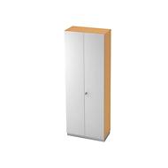 Garderobekast, 2 bladen, B 800 x D 420 mm, beukenpatroon/zilver
