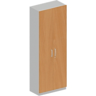 Garderobekast TETRIS SOLID, 6 ordnerhoogten, B 800 x D 421 x H 2239 mm, beukenpatroon/blank aluminium