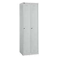 Garderobekastenset, 2 delen, elk met 2 vakken/4-planken, B 300 x D 457 x H 1800 mm, plaatstaal, cilinderslot