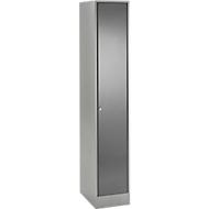 Garderobelocker, 1 compartiment, kledingstang, breedte 350 mm, veiligheidscilinderslot, licht zilver/antraciet