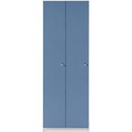 Garderobenschrank, 2 Abteile, lichtgrau/blau