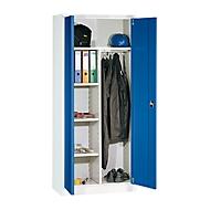 Garderobenschrank, mit Mitteltrennwand, lichtgrau/enzianblau