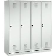 Garderobenspind Evolo S 3000, Stahl, m. Sockel, 4 Abteile m. jew. B 400 mm, Sicherheitsdrehriegelverschluss, lichtgrau RAL 7035/lichtgrau RAL 7035
