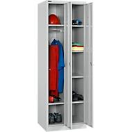 Garderobenspind Set, 2-teilig, 1 x mit 2 Böden & Kleiderstange, 1 x mit 4 Böden, B 300 x T 457 x H 1800 mm, Zylinderschloss