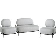 Garnitur ADMIRAL, 2 Sessel, 1 Sofa, 100 % Polyester, Stahlrohrgestell lackiert, grau