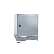 Gefahrstoffschrank BAUER GS-3, Stahlblech, unterfahrbar, für 4 x 200 l Fässer, B 1475 x T 1460 x  H 1805 mm, grau