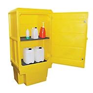 Gefahrstoffschrank für Kleingebinde o. 200 l Fass, Gitterrost, Wannenrost, Auffangwanne 225 l, abschließbar, PE, gelb