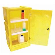 Gefahrstoffschrank für PSC1 Kleingebinde, 2 Fachböden, Auffangwanne 30 l, abschließbar, PE, gelb