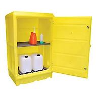 Gefahrstoffschrank für PSC5 Kleingebinde, Gitterrost, Wannenrost, Auffangwanne 100 l, abschließbar, PE, gelb