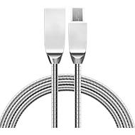 Gegevens-/oplaadkabel Felixx, Micro-USB, L 1 m, gevlochten metaal, knoopvast