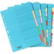 Gekleurde kartonnen indexbladen, per stuk, voor A4-formaat, 5 vakken,