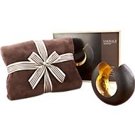 Geschenkset Abendstimmung, Teelicht + Fleecedecke B2000xT1500 mm, in Holzkiste