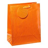 Geschenktasche Nadelstreifen, mittelgroß, 18 x 10 x 23 cm, reißfest, 4er-Set orange