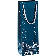 Geschenktasche Silver Snowflakes, im Flaschenformat, 3 Stück