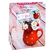 Geschenktüte Fotomotiv Danke, Format A5, mit Tragekordel & Beschriftungsschild, B 180 x T 100 x H 230 mm, PP-Folie, rot, 3 Stück