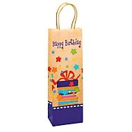 """Geschenktüte für Flaschen """"Happy Birthday"""", mit Tragekordel, B 120 x T 80 x H 360 mm, Kraftpapier, beige & farbig bedruckt, 6 Stück"""