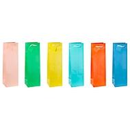 """Geschenktüte für Flaschen """"Trendfarben"""", mit Tragekordel & Beschriftungsschild, B 100 x T 90 x H 330 mm, PP-Folie, 12 Stück farbsortiert"""