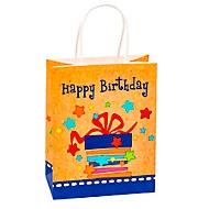 """Geschenktüte """"Happy Birthday"""", Format A5, mit Tragekordel, B 180 x T 100 x H 230 mm, Kraftpapier, beige & farbig bedruckt, 6 Stück"""