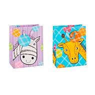 Geschenktüte Tiermotiv Zebra/Giraffe, Format A5, mit Trageband & Beschriftungsschild, B 180 x T 100 x H 230 mm, PP-Folie, lila-blau, 12 Stück sortiert