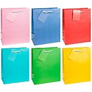 """Geschenktüte """"Trendfarben"""", Format A5, mit Tragekordel & Beschriftungsschild, B 180 x T 100 x H 230 mm, PP-Folie, 12 Stück farbsortiert"""