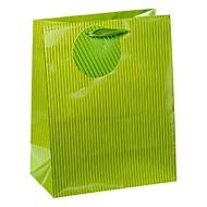 Geschenkzak krijtstrepen, middelgroot, 18 x 10 x 23 cm, scheurbestendig, 4-delige set groen