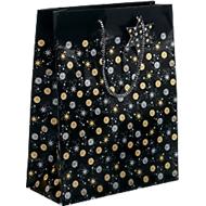 Geschenkzak Sigel Stardust, koorden & geschenklabel, papier, zwart met goud-zilveren sterren/cirkels, groot
