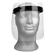 Gesichtsschutzmaske, mit austauschbarem Visier, inkl. 3 Visierschilder, größenverstellbar, aus ABS/Polyesterfolie, schwarz/glasklar