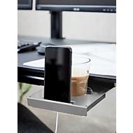 Getränke- & Handyhalter, Untertischmontage, ausziehbar, aluminiumfarben, L 296 x B 174 x H 24 mm