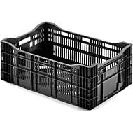 Gitter Lagerkasten, 600 x 400 x 241, Traglast 20 kg, Stapelhöhe 227 mm, universell einsetzbar, Euronorm, schwarz