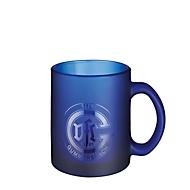 Glas Tasse Frozen Colour, für 250 ml, H 97 x Ø 80 mm, mit Henkel, Werbedruck 3-farbig 180 x 65 mm, blau