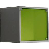 Glasdeur voor kubusvormige open kast, groen