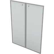 Glasdeur voor open kast PHENOR, 3 ordnerhoogten, gesatineerd, in aluminium frame, B 860 x H 1310 mm