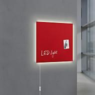 Glasmagnetboard Sigel Business artverum® LED light, 480x480 mm, beschreibbar, 3 Magnete, rot