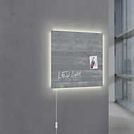 Glasmagnetboard Sigel Business artverum® LED light, Sichtbeton, beschreibbar, 480 x 480 mm