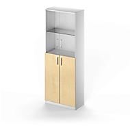 Glastüren-Flügeltüren-Kombination TETRIS SOLID, 5 OH, B 800 x H 2143 mm, 2 Glasböden, 2 Stahlböden, Glas/Ahorn-Dekor/weißalu