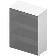 Glastürenschrank ARLON OFFICE, 3 Ordnerhöhen, Glastüren ohne Rahmen, B 900 x T 450 x H 1232 mm, weiß/weiß