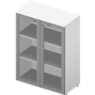 Glastürenschrank ARLON OFFICE, 3 Ordnerhöhen, Türen mit Rahmen, B 900 mm, weiß/weiß