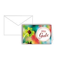 Glückwunschkarte Korsch Alles Gute Glücksklee, 115 x 170 mm (Format B6), Karton, 10 Stück mit doppelten Einlagen & Kuverts in Reinweiß
