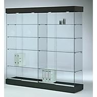 Große Glas-Standvitrine GRANAT, schwarz
