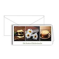 """Grußkarte """"Die besten Glückwünsche"""", Format DIN lang, 206 x 103 mm, mit Kuverts & doppelten Einlagen, braun, Karton, 10 Stück"""
