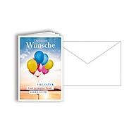 """Grußkarte """"Die besten Wünsche"""", Format B6, 115 x 170 mm, mit Kuverts & doppelten Einlagen, blau, Karton, 10 Stück"""