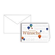 """Grußkarte """"Die besten Wünsche"""", Format B6, 170 x 115 mm, mit Kuverts & doppelten Einlagen, blau, Karton mit Blindprägung, 10 Stück"""