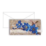 """Grußkarte """"Die besten Wünsche"""", Format DIN lang, 206 x 103 mm, mit Kuverts & doppelten Einlagen, blau, Karton mit Goldfolienprägung, 10 Stück"""