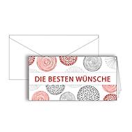 """Grußkarte """"Die besten Wünsche"""", Format DIN lang, 206 x 103 mm, mit Kuverts & doppelten Einlagen, rot, Karton mit Rotfolienprägung, 10 Stück"""