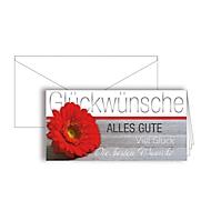 """Grußkarte """"Glückwünsche"""", Format DIN lang, 206 x 103 mm, mit Kuverts & doppelten Einlagen, grau, Karton, 10 Stück"""