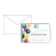 """Grußkarte """"Glückwünsche vom ganzen Team"""", Format B6, 170 x 115 mm, mit Kuverts & doppelten Einlagen, blau, Karton mit Goldfolienprägung, 10 Stück"""