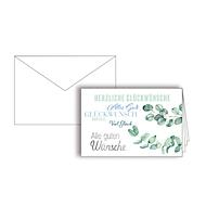 """Grußkarte """"Herzliche Glückwünsche"""", Format B6, 170 x 115 mm, mit Kuverts & doppelten Einlagen, grün, Karton mit Silberfolienprägung, 10 Stück"""
