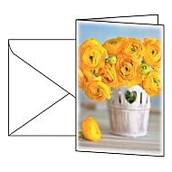 """Grußkarte Sigel """"Ranunculus"""", Format B6, 115 x 170 mm, mit weißen & gummierten Umschlägen, gelb, FSC®-Glanzkarton, 10 Stück"""